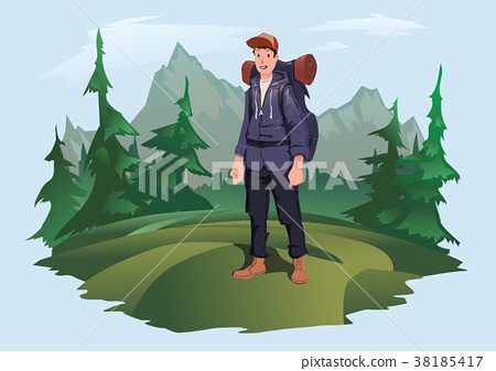 Man with backpack on the background of the 38185417