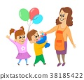 Children, boy and girl give their mother flowers 38185422