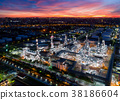 Aerial view of twilight of oil refinery 38186604