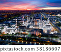 Aerial view of twilight of oil refinery 38186607