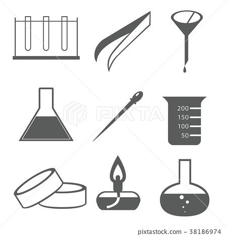 Chemicals Flask Beaker Petri Dish Funnel Tweezers Alcohol Burner Dropper Test Tube 38186974