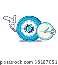 With clock Electroneum coin chracter cartoon 38187051