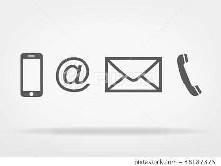 contact symbols - phone, mail envelope flat icon - ภาพประกอบสต็อก
