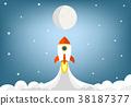 moon, illustration, rocket 38187377