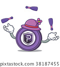 Juggling Pivx coin mascot cartoon 38187455