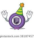 Clown Pivx coin mascot cartoon 38187457