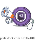 With megaphone Pivx coin character cartoon 38187488