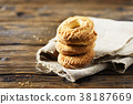 Sweet homemade cookies on the wooden table 38187669