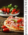 Italian pizza with mozzarella, tomato and bacon 38187683