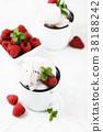 Sweet summer ice cream with raspberry  38188242