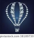 Hot air balloon icon made a lot of diamonds. 38189730