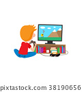Boy sitting on floor, playing video game console 38190656