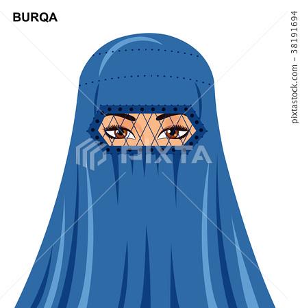 Vector burqa style muslim woman in burqa  38191694