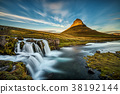 Sunset over Kirkjufellsfoss Waterfall in Iceland 38192144