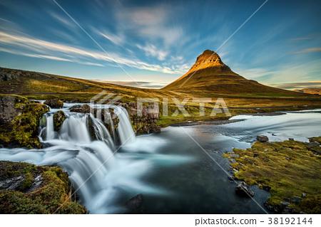 Sunset over Kirkjufellsfoss Waterfall in Iceland 38192144