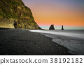 The black sand beach of Reynisfjara near Vik in 38192182
