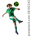 young teenager soccer player man silhouette 38192242