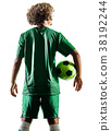 young teenager soccer player man silhouette 38192244