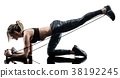 woman pilates fitness elastic resistant band 38192245