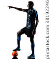 one african soccer player man isolated white 38192246