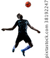 one african soccer player man isolated white 38192247