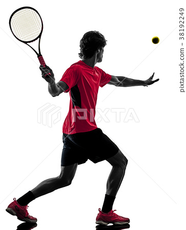 tennis player man silhouette isolated white 38192249