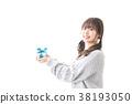 여성, 하트, 실내 38193050