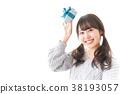 여성, 하트, 실내 38193057
