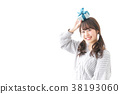 여성, 하트, 실내 38193060