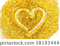 Heart shape Outlined in Gold Glitter. 38193444