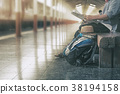 Travel concept,Backpack and hat at train station. 38194158