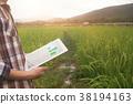 agriculture technology, farmer man using tablet. 38194163