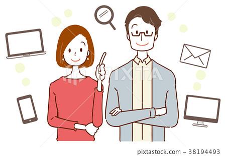30s夫婦互聯網的圖像例證 38194493