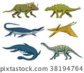 Dinosaurs Elasmosaurus, Mosasaurus, Barosaurus 38194764