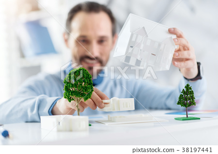 Inspired architect working on his project 38197441