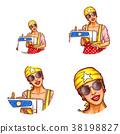 Vector set of female avatars in pop art style 38198827