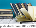 Open book, hardback books on wooden table. Back to 38199990