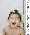 샤워, 머리감기, 비누거품 38200635