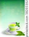 glass cup leaves green tea on adstrack background. 38203302