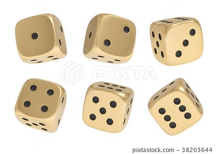 3d rendering of a set made up of nine golden game 38203644