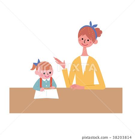 공부를하는 부모 일러스트 38203814