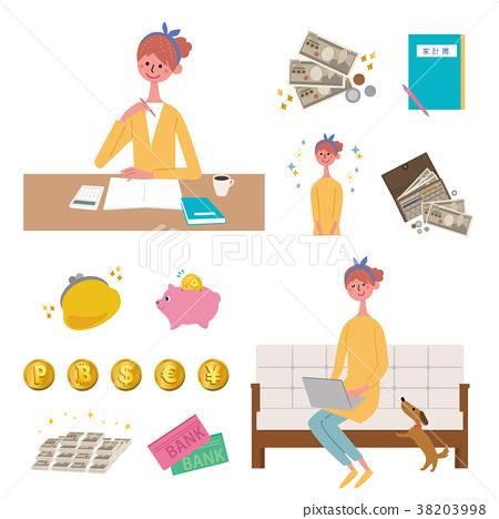 金錢主婦家庭財務管理例證集合 38203998