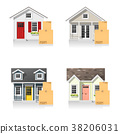 Set of small houses and cardboard boxes 38206031