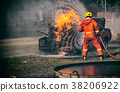 Firefighters fighting a fire,Firefighter training 38206922