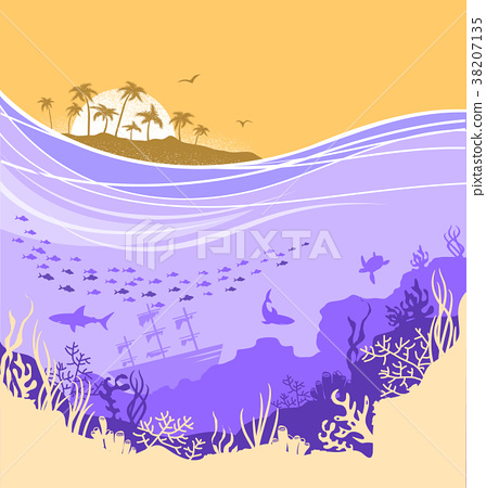 Underwater sea background with tropical island 38207135