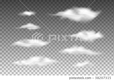 Set Of Transparent Isolated Clouds  Vector EPS 10 - Stock