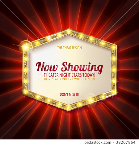 theater sign or cinema sign on curtain 38207964
