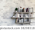 Shelves with books. 3D rendering 38208318