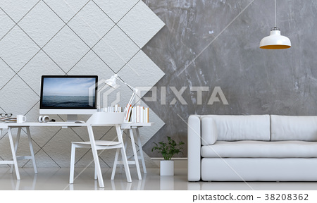 3D rendering of interior room with sofa, laptop co 38208362