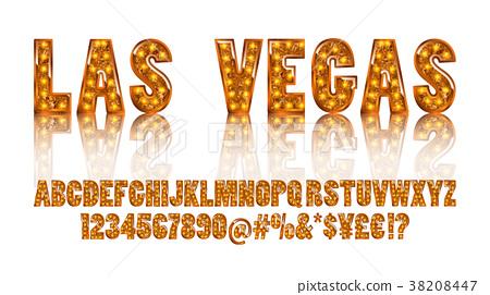 Realistic vector lamps alphabet 38208447